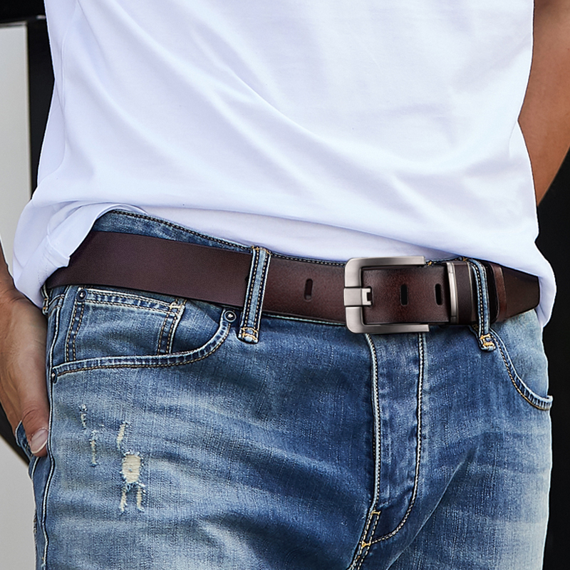 New Leather Cowhide Men's Belt Fashion Metal Alloy Pin Buckle Adult Luxury Brand Jeans Business Casual Waist Male Strap Brand