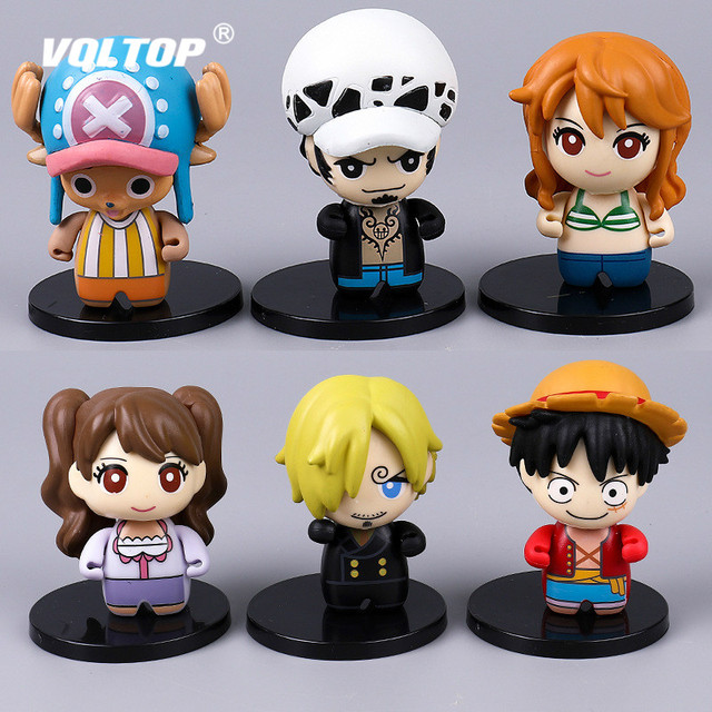 6pcs/set Pirate King Doll Car Ornament Decoration Car Accessories for Girls Interior Pendant Hand Model Luffy Sanji Nami Chopper