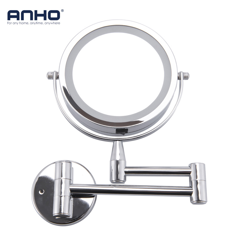GLAMO Bath Mirror Led Cosmetic Mirror 1X/3X Magnification Wall Mounted Adjustable Makeup Mirror Dual Arm Extend 2-Face Bathroom Mirror 3