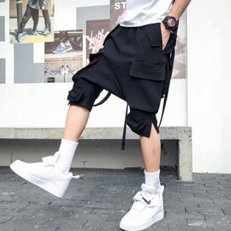 Homens Verão Multi Bolsos De Carga Shorts Calças Rua Hip Hop Punk Fitas Curtas Mens Calções Harém Ocasional Do Vintage Plus Size