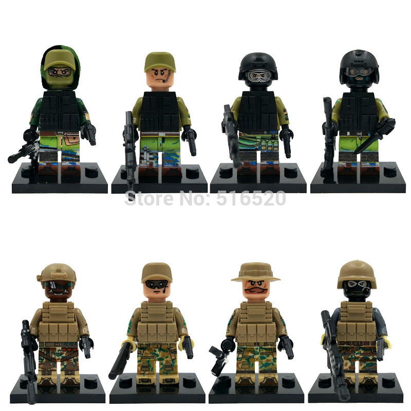 SWAT Team 8pcs/lot Clone Military Figure Set Army Weapon Building Blocks Sets Bricks Models Toys For Children Legoing