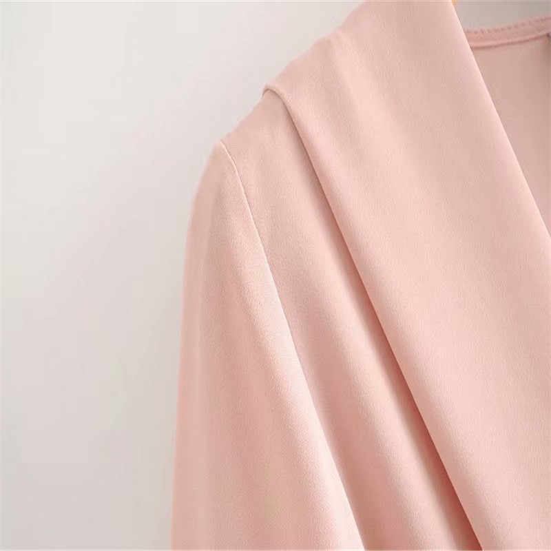 Women Sweet Cross V-neck Solid Color Blouse  Long Sleeve with Sashes Shirt Female Casual Stylish Tops Blusas Mujer