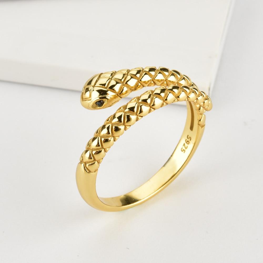 ANDYWEN 925 Sterling Silver Gold Snake Resizable Ring Adjustable Animal Women Luxury Rock Punk Slim Circle Round Jewelry