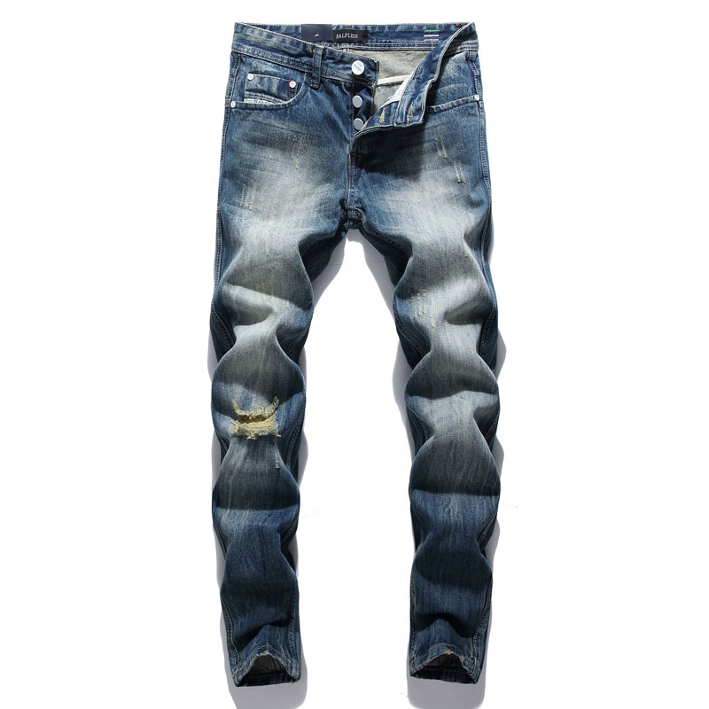 Fashion Retro Destroyed Men Jeans Slim Fit Classical Denim Pants Embroidery Patches Ripped Jeans Men Streetwear Hip Hop Jeans