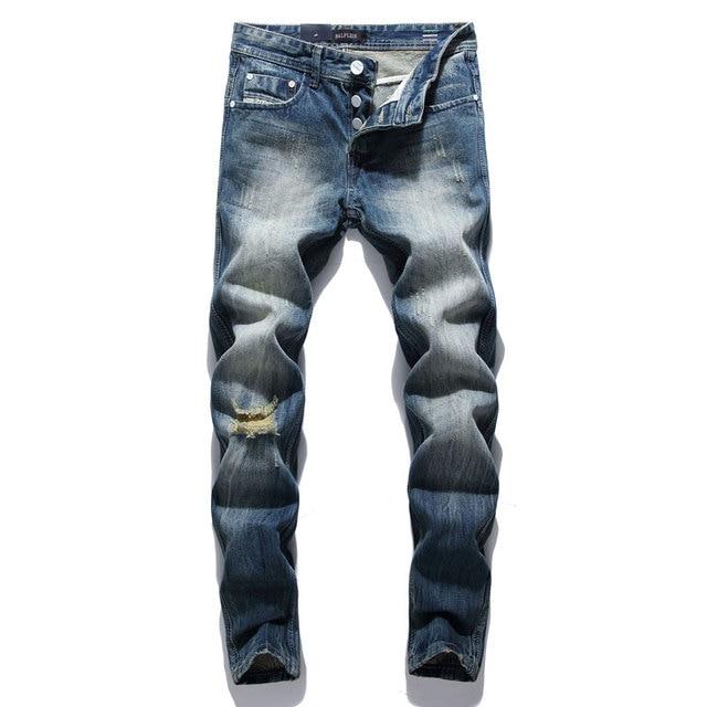 Fashion Retro Destroyed Men Jeans Slim Fit Classical Denim Pants Embroidery Patches Ripped Jeans Men Streetwear Hip Hop Jeans 45