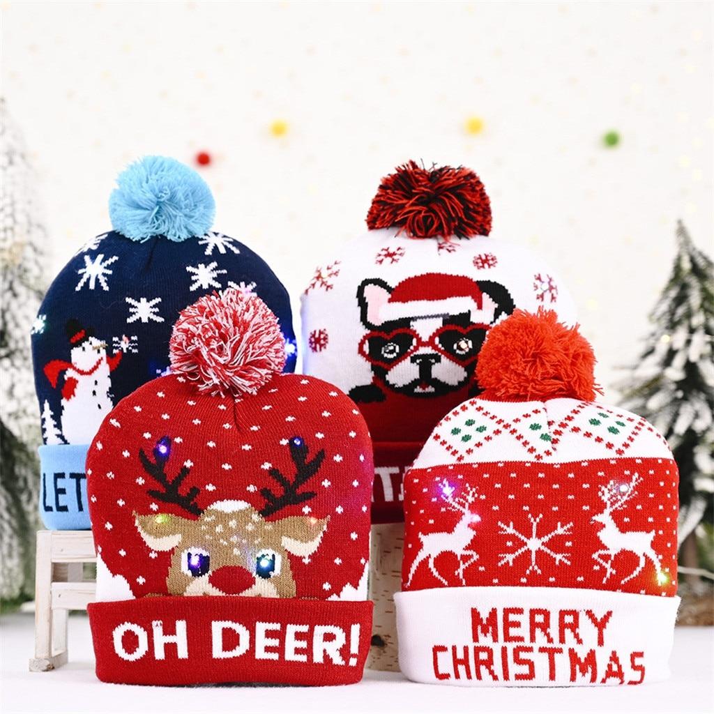 Мужская и женская шапка бини зимние рождественские шапки вязаные шапки со светодиодным светильник вспышка лампы Рождественские шапки новый год 2021 Рождественские шапки      АлиЭкспресс