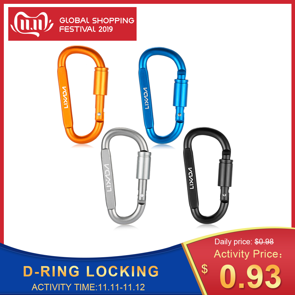 Lixada Aluminum Alloy D-ring Locking Carabiner Hook Buckle Keychain For Outdoor Camping Hiking Water Kit Climbing Tools