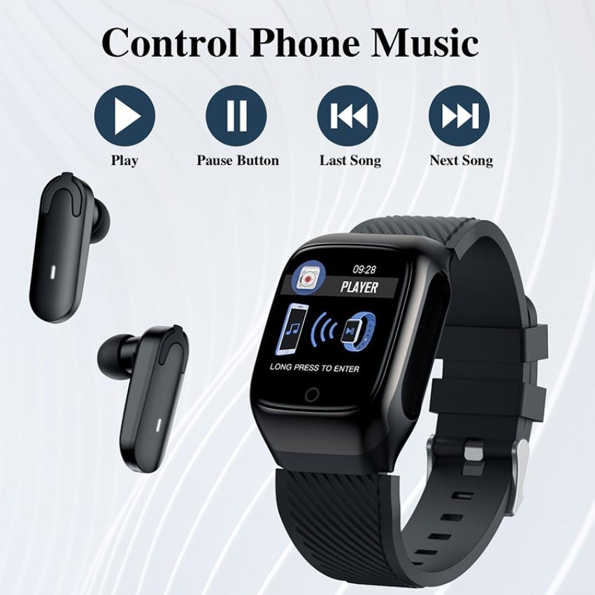 S300 Bluetooth Call Smart Bracelet TWS Smart Earphone 2-in-1 Pedometer Heart Rate Blood Pressure Call Reminder Smart Band Watch (1)
