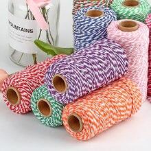 100 м * 2 мм двухцветная хлопковая веревка шпагат для аксессуаров