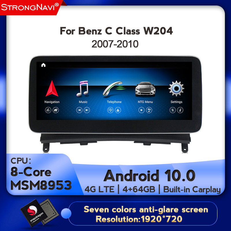New arrival!4+64GB android 10.0 car multimedia player for Benz C Class <font><b>W204</b></font> 2007-2010 with <font><b>gps</b></font> navigation 4G wifi <font><b>radio</b></font> stereo image