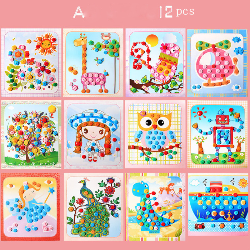 12pcs DIY Button Stickers Drawing Children Toys Funny Game Kids Handmade School Art Class Painting Craft Kit Early Educational