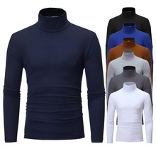 Men Fashion Solid Color Long Sleeve Turtle Neck Slim Fits T-Shirt Bottoming Top