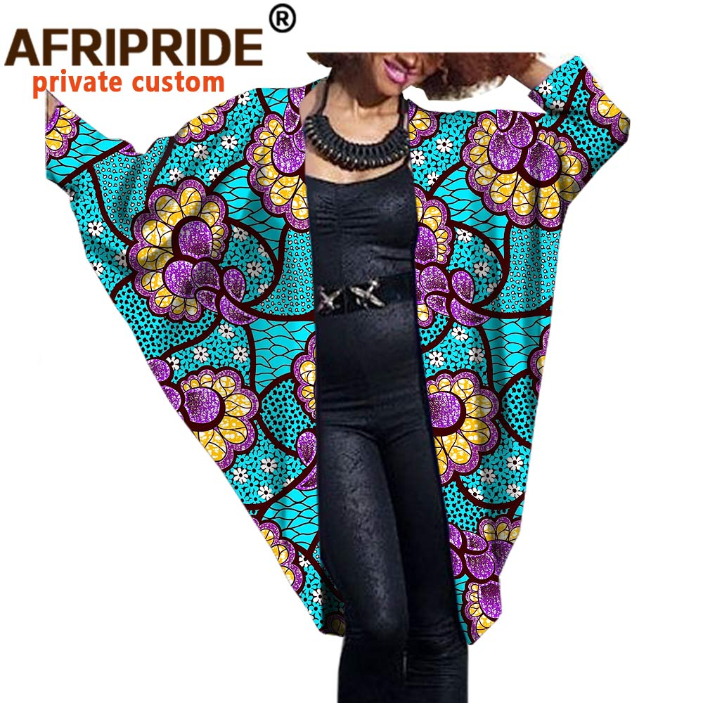 Купить с кэшбэком 2020 fashion African women bat coat AFRIPRIDE private custom Autumn casual female cloak coat super batik cotton plus sizeA722416