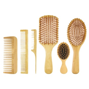 6PC/Set Wood Comb Healthy Paddle Cushion Hair Loss Massage Brush Hairbrush Comb Scalp Hair Care Healthy Bamboo Comb 1