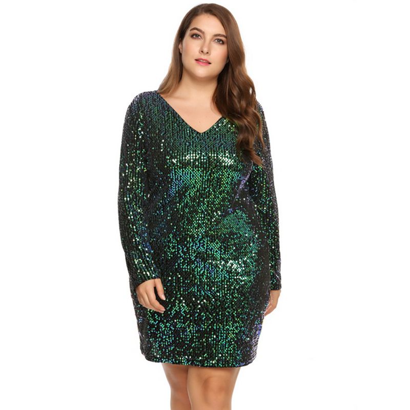Paris Girl Women's <font><b>Dress</b></font> Plus Size <font><b>Sexy</b></font> <font><b>Deep</b></font> <font><b>V</b></font>-Neck Long Sleeve Sequined Bodycon Cocktail Club Sheath Loose Ladies <font><b>Dresses</b></font> image