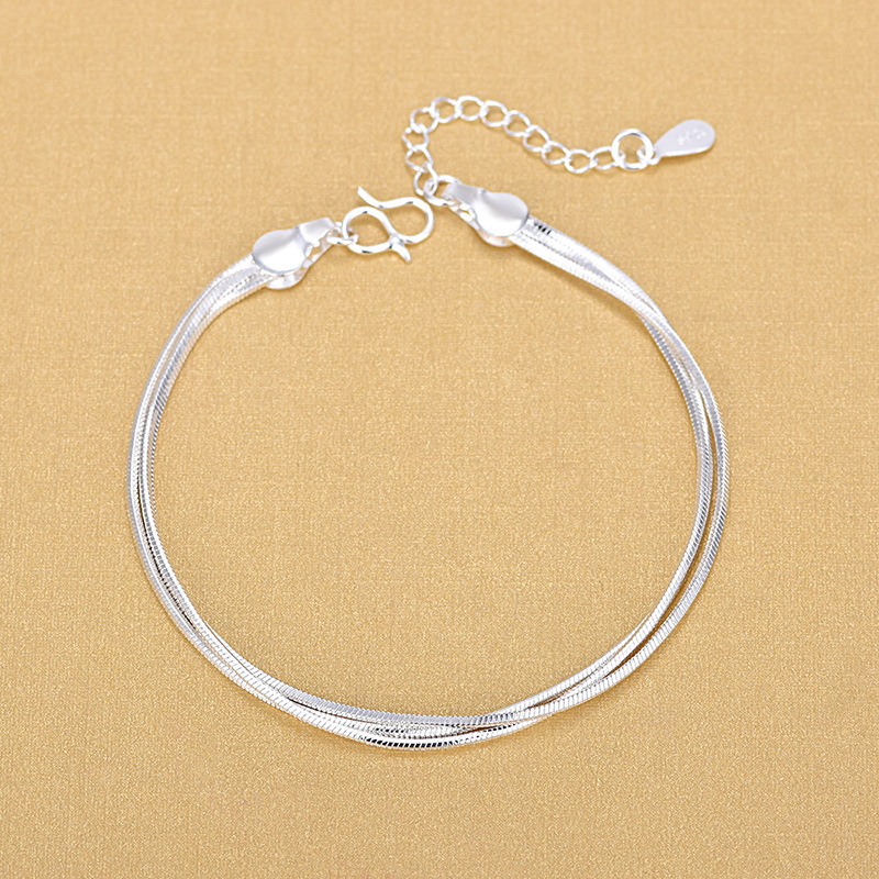 Europe And America Sell Well 925 Sterling Silver Triple Layer Snake Chain Bracelet For Women Fashion Jewelry 2020 Gifts