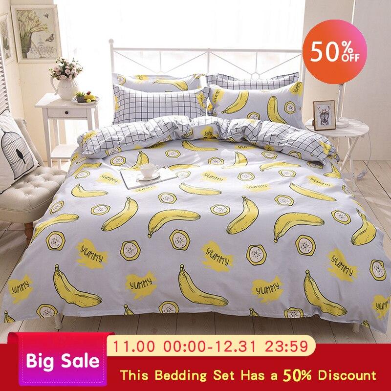 Quilt Cover Bedding Set 4PCS Comfortable Queen Size Bed Set King Size Duvet Cover Plant Print Bed Sheet Pillowcase Comforter Set