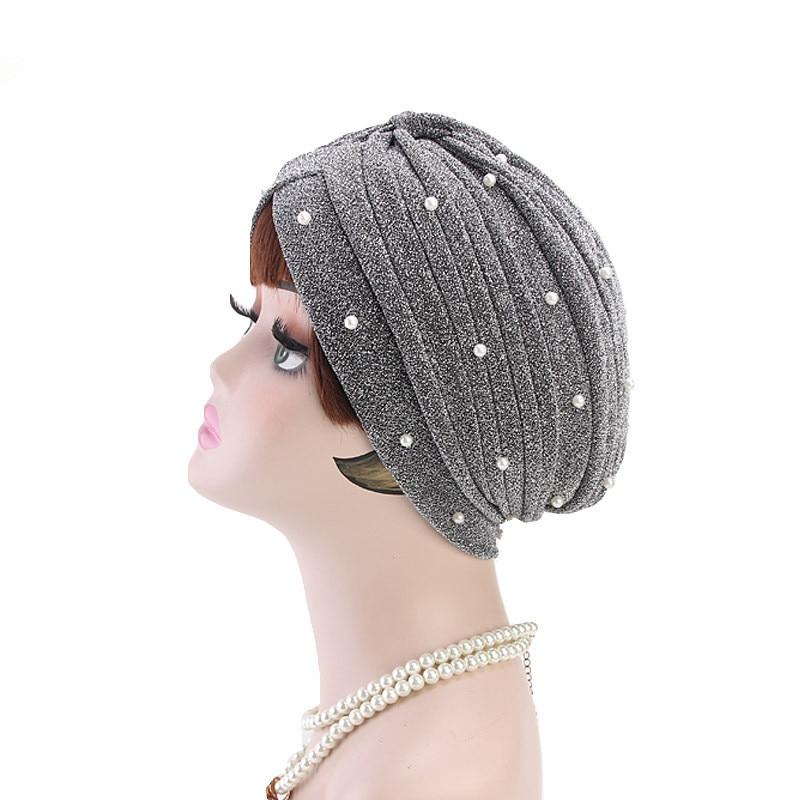 Image 4 - Helisopus 2020 Fashion Women Muslim Shiny Pearls Beaded Mesh  Headwrap Hair Lose Turban Headwear Cap for Women Hair  AccessoriesWomens Hair Accessories