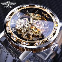 Победитель Черный Золотой Ретро светящиеся руки мода алмаз дисплей мужские механические скелет наручные часы лучший бренд роскошные часы