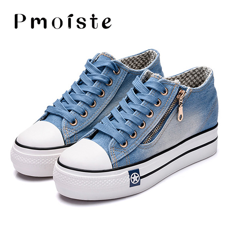 Canvas shoes for girls 2020 Spring Fashion Sneakers Solid Sewing Women Denim Shoe Sapato Feminino Size 35-41 5
