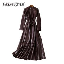TWOTWINSTYLE, кожаное осеннее платье, женское платье со стоячим воротником, с длинным рукавом, с высокой талией, на шнуровке, одноцветное, миди, платья для женщин, мода, новинка