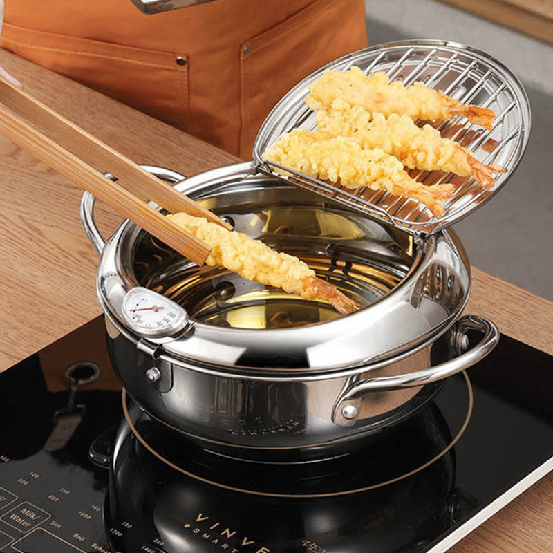 Kitchen Deep Frying Pot Thermometre Tempura Fryer Pan Temperature Control Fried Chicken Pot Cooking Tools Stainless Steel 1