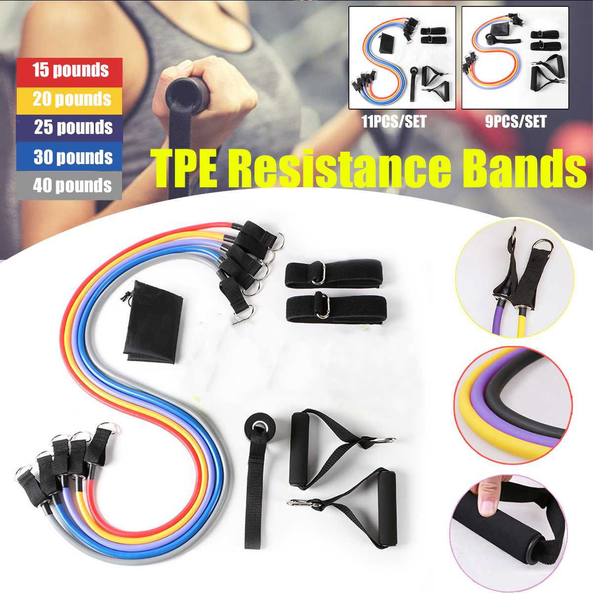 9/11 Pcs Resistance Bands Set Fitness Exercises Resistance Bands Rubber Loop Tube Pedal Workout Yoga Excerciser Training Tools