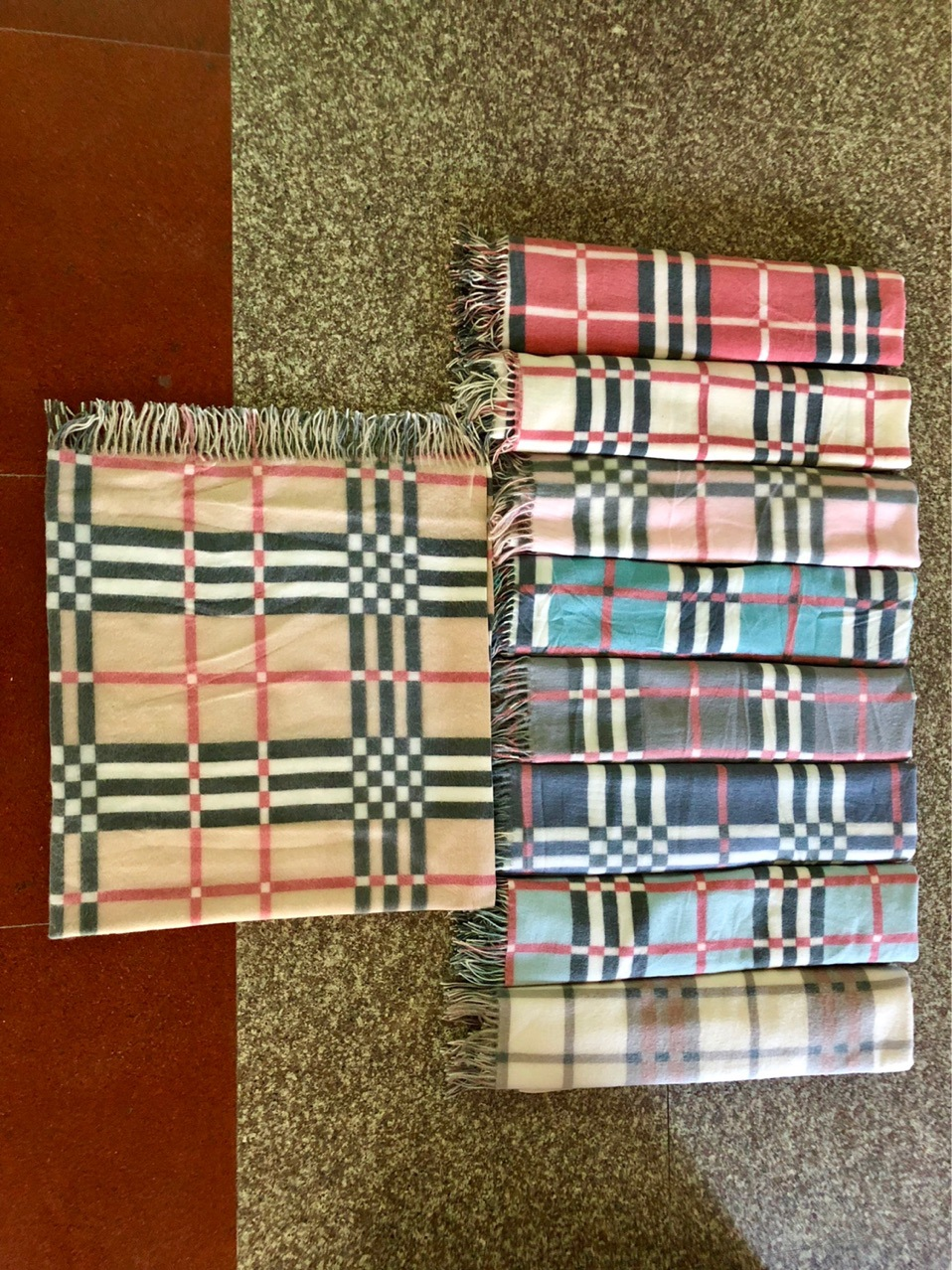 Printed Bristle Plaid Kerchief Warm Thick Section Comparable Blanket Scarf Japanese Korean Winter Scarf