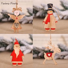 Twins Party Christmas Wooden Pendants Ornaments DIY Decoration Wood Craft Hanging
