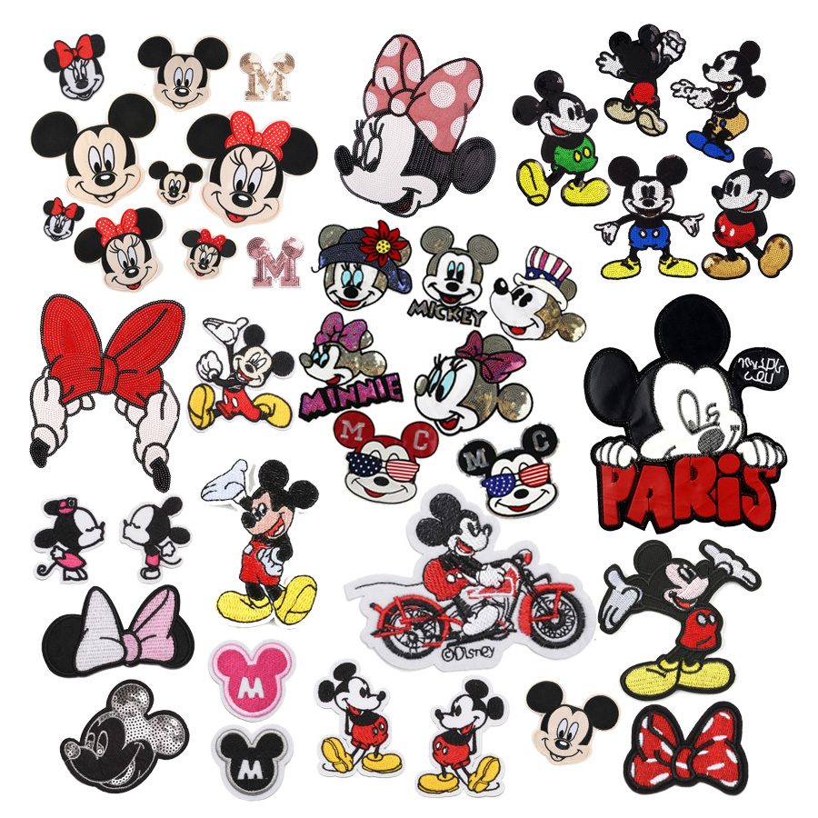 1pc Sequined Minnie Mickey Embroidery Applique Bowknot Stickers Cartoon For Kids Clothing Tshirt Coat Sew-On Iron On Patches