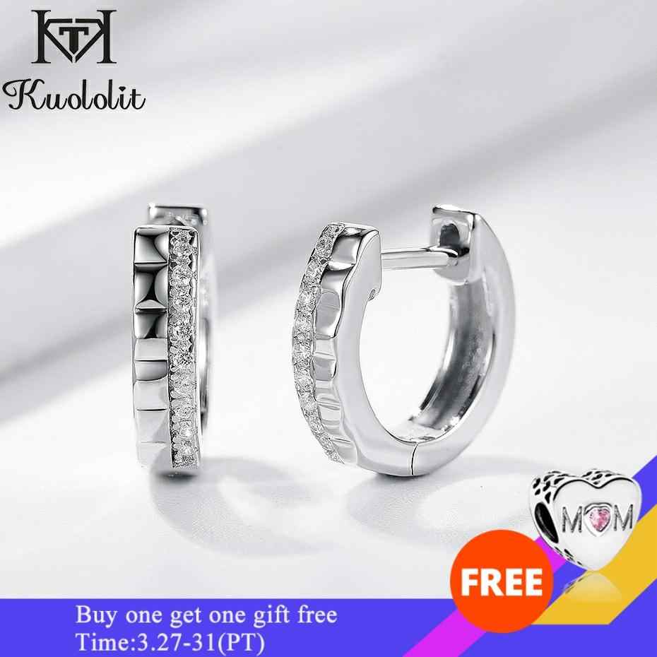 Kuololit Hoop Earrings For Women Pure 925 Sterling Silver серьги for engagement Wedding bride promise Glamorous Fine jewelry