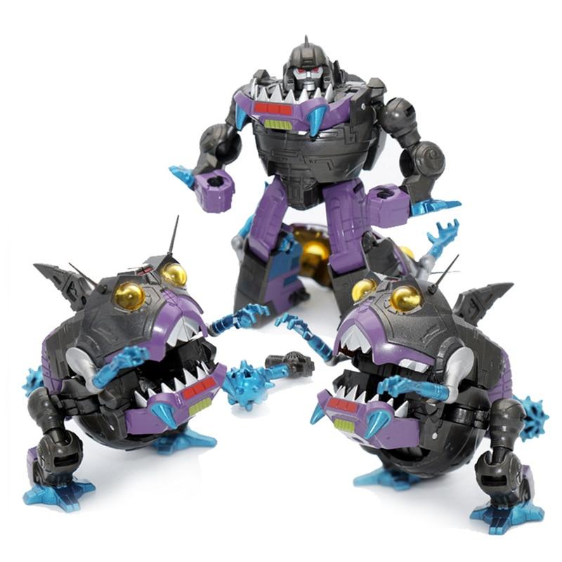 Трансформация G1 Sharkticon MFT MF-26 KO 3 шт. Металлический Набор покрытий Акула Аниме Фигурка робот мальчик коллекция игрушек