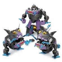 Transformação g1 sharkticon mft MF 26 ko 3 pçs conjunto de revestimento de metal tubarão anime figura ação robô menino coleção brinquedos