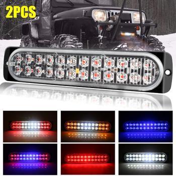 2 sztuk zagrożenia lampa błyskowa światło stroboskopowe Bar podwójne korzystając z łączy z boku awaryjne lampa błyskowa światło stroboskopowe 72W dwurzędowe 24 LED samochodów ciężarówka awaryjne ostrzeżenie tanie i dobre opinie CN (pochodzenie) Światło dzienne Diecast Aluminum Housing + PC Lens 12 v 200g LED Strobe Light