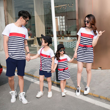 Mommy and Daughter Matching Clothes Summer  Couple Clothes Family Outfits Father Son   Striped T-shirt  Mother  Daughter Dress family christmas clothes mother daughter father son t shirt family matching clothes mommy and me clothes family look outfit
