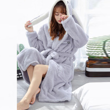 Coral Bathrobe Women Cartoon Cute Warm Hooded Robe Ladies Casual Rabbit Flannel