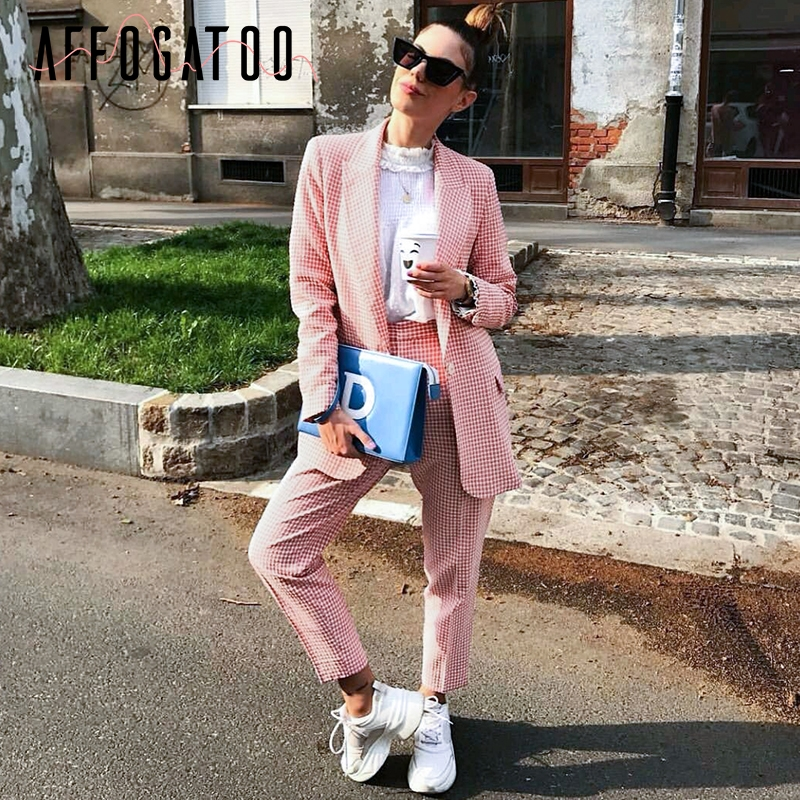 Affogatoo Casual Autumn Winter Plaid Pink Blazer Coats Women Elegant Long Sleeve Office Ladies Pants Blazer Suits Outwear Female