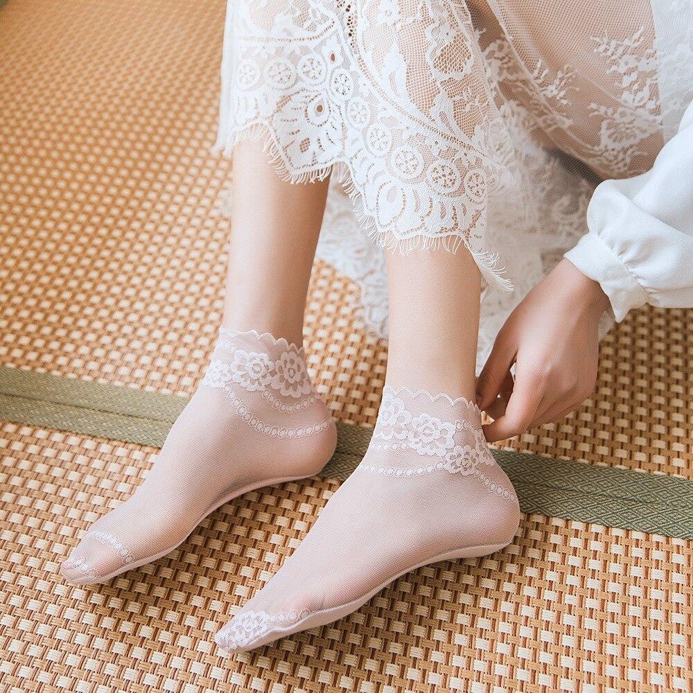Summer Lace Socks Short Thin Women Socks Femme Flower Funny Socks Streetwear Calcetines Meias