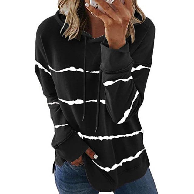 Oversize Women Tie Dye Drawstring Hooded Sweatshirt Autumn 2020 New Winter Long Sleeve Casual Loose Hoodies Tops Plus Size S-5XL 1