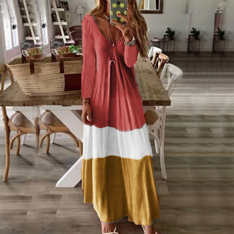 New Vintage Womens Dress Long Sleeve Boho Party Dress Summer Autumn Loose Soft Ladies Casual Kaftan Long Maxi Dress Long Dresses