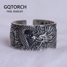 Real 999 prata pura anéis do motociclista dos homens com dragão voador vintage estilo punk coração sutra gravado budismo animal jóias
