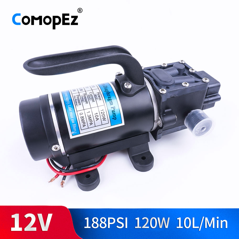 Electric 12V 24V 120W 188PSI 10/min Water Film High Pressure Self-Priming Pump Return Pump Backflow Control For Garden
