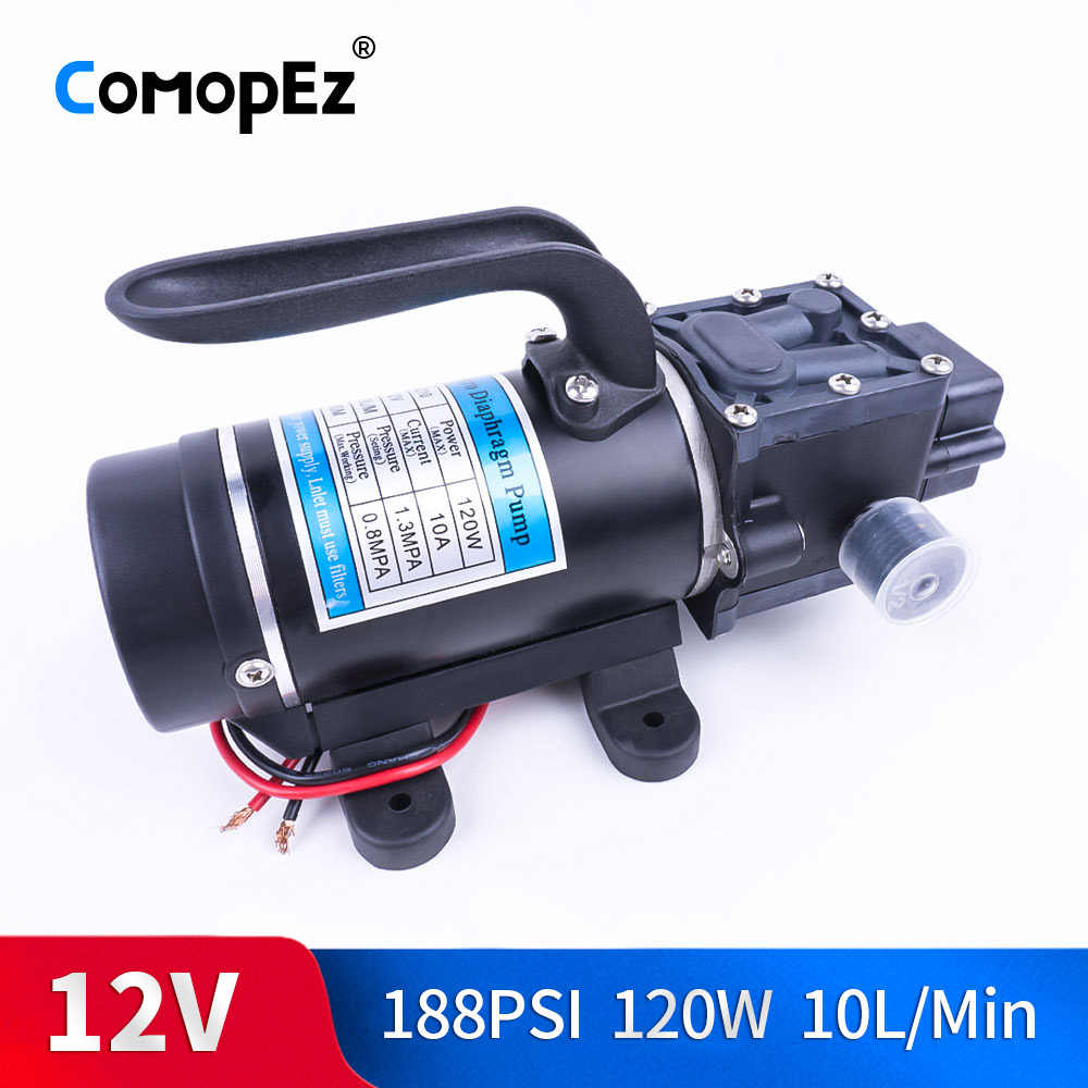 Electric 12V 24V 120W 188PSI 10/min Water Film High Pressure Self-Priming Pump Return Pump Backflow Control For Garden