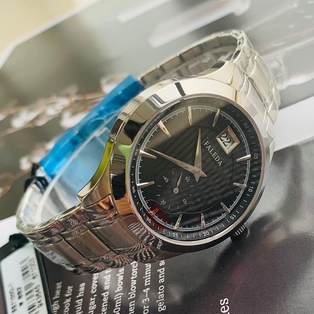 Faleda calendário de negócios quartzo relógio masculino à prova dwaterproof água safira vidro aço inoxidável caso esporte relógio pulso homem relogio masculino - 2
