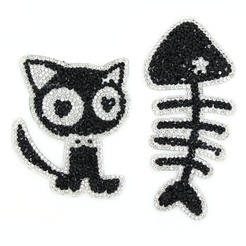 New Chic Cat And Fish Patches Animal Rhinestones Patches For Clothes Black Appliques For Children's Crafts DIY Iron On Patches image