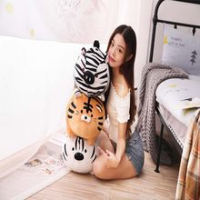 1pc 35-45cm Kawaii Tiger Zebra Plush Soft Pillow Cute Stuffed Animal Toys Doll Kids Girls Valentines Birthday Gift xmas Present(China)