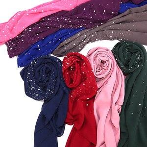 Image 3 - Nữ Bong Bóng Khăn Voan Choàng Cổ Tròn Đính Kim Cương Ngọc Trai Khăn Đồng Bằng Hijab Khăn Choàng Len Màu Hồi Giáo Hijab Khăn