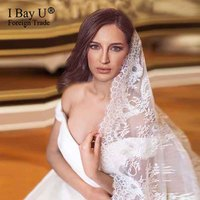 Real Photos 3M France Lace Bridal Veil White/Ivory Simple Small Fowers Lace Long Cathedral Veil Wedding Bridal Veil With Comb