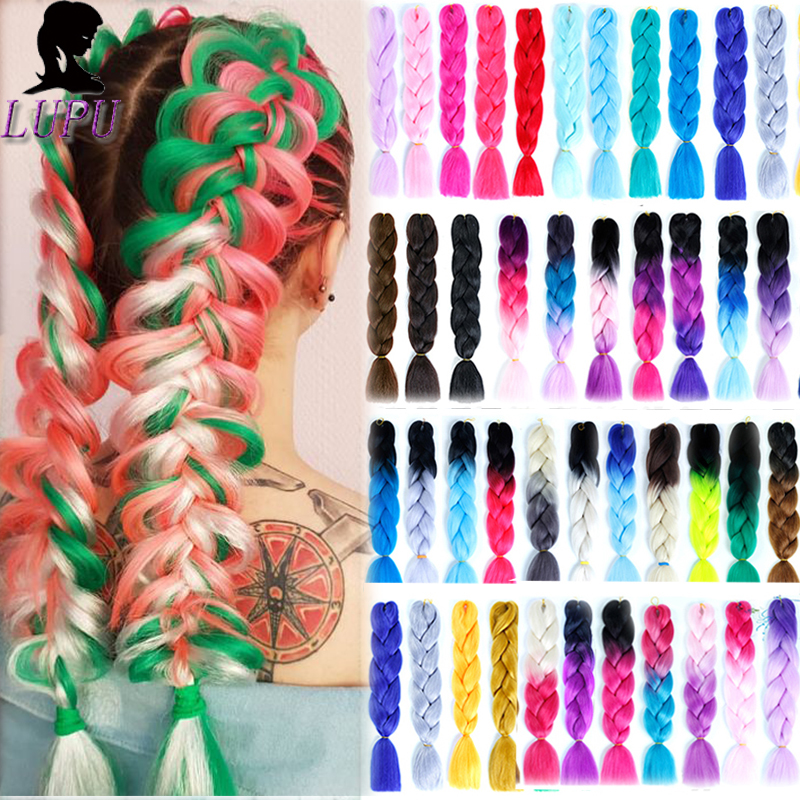 LUPU Ombre Braiding Hair Jumbo Braids Synthetic Hair Extensions Colorful Pink Purple Red Blonde Crochet Braids Hair