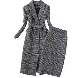 Plaid Pak Vrouwen Herfst Winter Nieuwe Lange Wollen Blazer & Rok Set Temperament Tweed Geul Tweedelige Set Plus Size outfit f1834